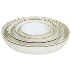 Extra Large Ivory Glazed Porcelain Hermit Bowl with Rustic Rim