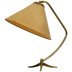 Extra Large Kalmar Mid-Century Modern Brass Tripod Table Lamp