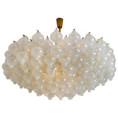Extra Large Kalmar 'Tulipan' Flushmount Chandelier, 127 Glasses and Brass, 1960s