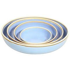 Extra Large Lavender Glazed Porcelain Hermit Bowl with Rustic Rim