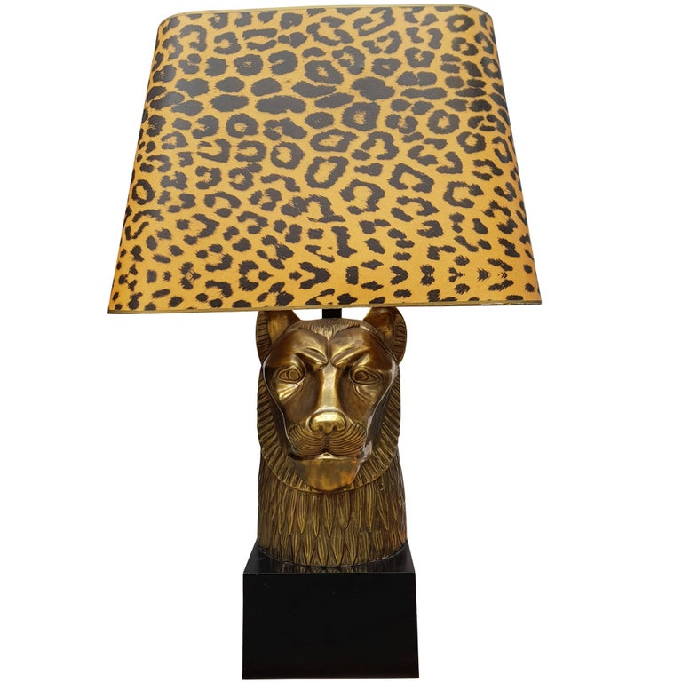 Extra Large Leopard Brass Table Lamp For Sale At 1stdibs