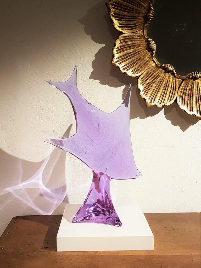 20th Century Extra Large Licio Zanetti Alexandrite Neodymium Murano Glass Fish Figure For Sale