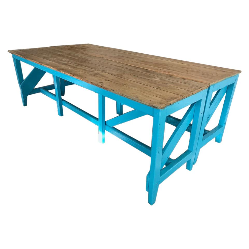 Extra Large Light Retro Vintage Blue Painted Kitchen Table or Shop Display