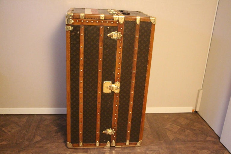 French Extra Large Louis Vuitton Wardrobe Steamer Trunk, Louis Vuitton Trunk For Sale
