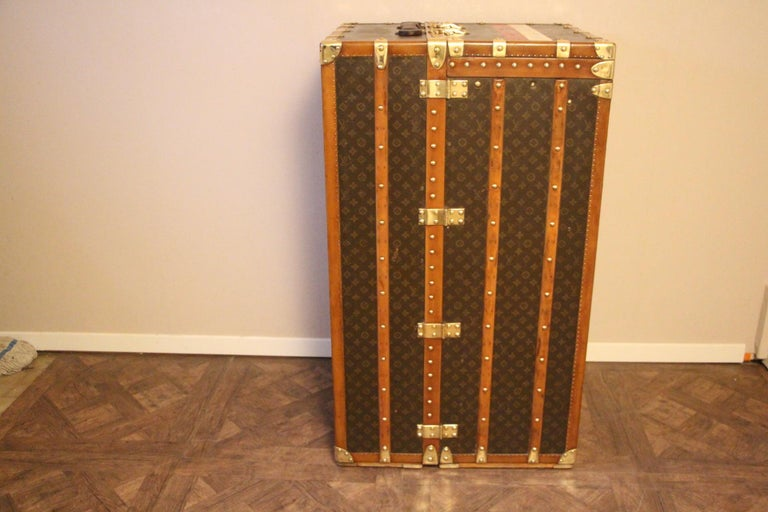 Mid-20th Century Extra Large Louis Vuitton Wardrobe Steamer Trunk, Louis Vuitton Trunk For Sale