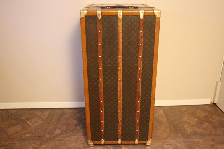Brass Extra Large Louis Vuitton Wardrobe Steamer Trunk, Louis Vuitton Trunk For Sale