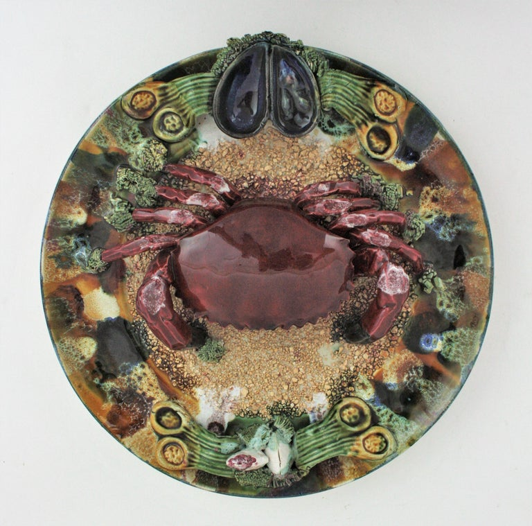 Extra Large Majolica Ceramic Trompe L' Oeil Wall Plate Crab Design For Sale 4