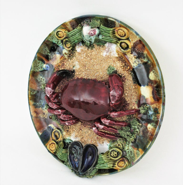 Mid-Century Modern Extra Large Majolica Ceramic Trompe L' Oeil Wall Plate Crab Design For Sale