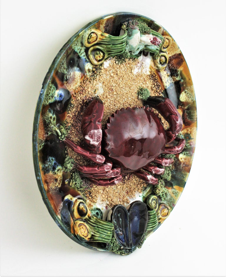 Glazed Extra Large Majolica Ceramic Trompe L' Oeil Wall Plate Crab Design For Sale