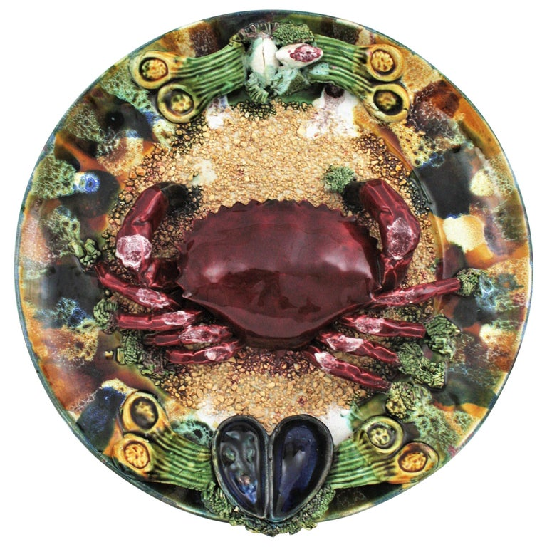 Extra Large Majolica Ceramic Trompe L' Oeil Wall Plate Crab Design For Sale