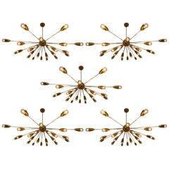 Extra Large Mid-Century Modernist Sputniks Chandeliers in Brass Praque, 1970s