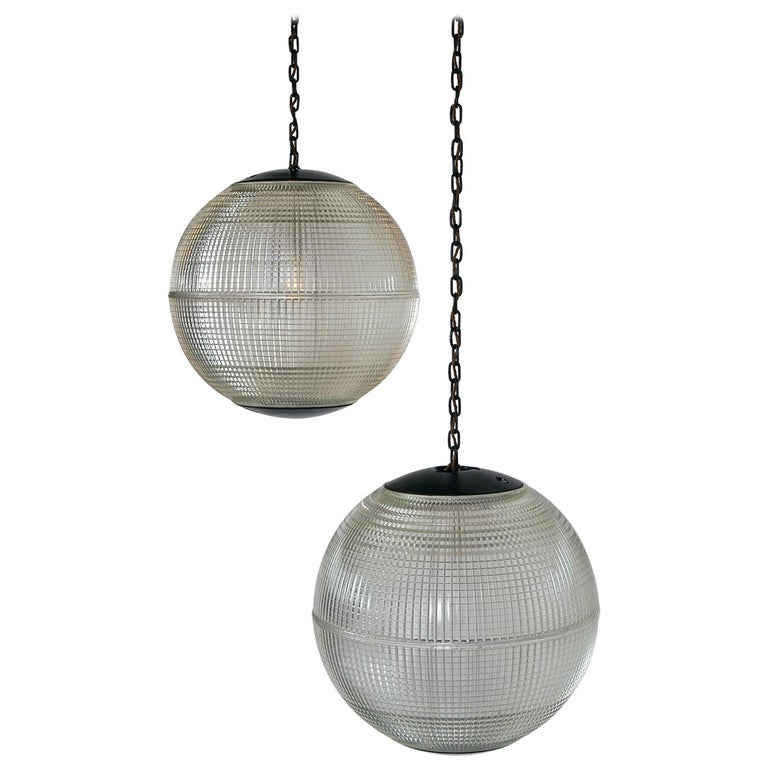 Extra Large Midcentury Parisian Glass Globe Ball Pendant Lights, Holophane, Pair For Sale