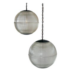 Extra Large Midcentury Parisian Glass Globe Ball Pendant Lights, Holophane, Pair
