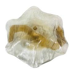 Extra Large Midcentury Round Ice Glass Flush Mount by J.T. Kalmar, 1960s