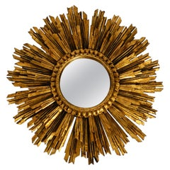 Extra Large Midcentury Sunburst Wall Mirror Made of Gold-Plated Wood