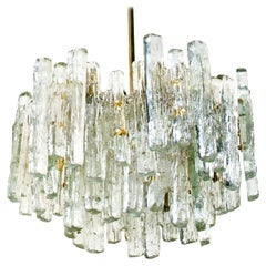 Extra Large Modern Three-Tiered Kalmar Ice Glass Chandelier
