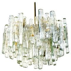 Extra Large Modern Three-Tiered Kalmar Ice Glass Chandelier