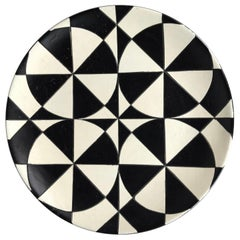 Extra Large Modernist Black and White Op Art Ceramic Charger