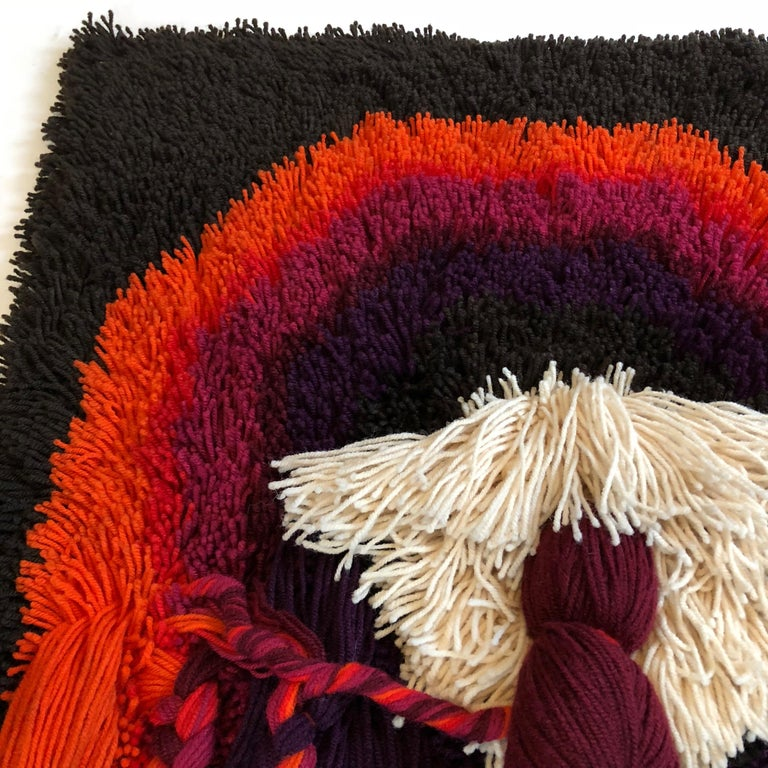 Wool Extra Large Modernist Macrame Wall Rug by Desso Studio, Netherlands, 1970s For Sale
