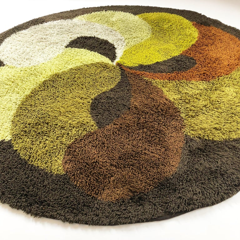 Extra Large Modernist Multi-Color High Pile Rya Rug by Desso, Netherlands, 1930s In Good Condition In Kirchlengern, DE
