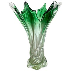 Extra Large Multi-Color Floral Glass Sommerso Vase Made in Murano, Italy, 1970s