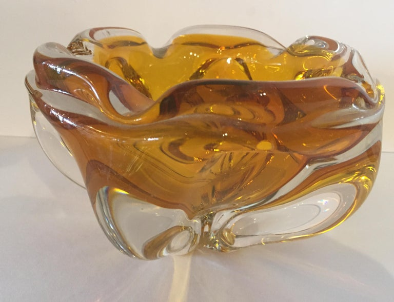 Mid-Century Modern Extra Large Murano Citrine and Amber to Clear Ash Tray or Bowl For Sale