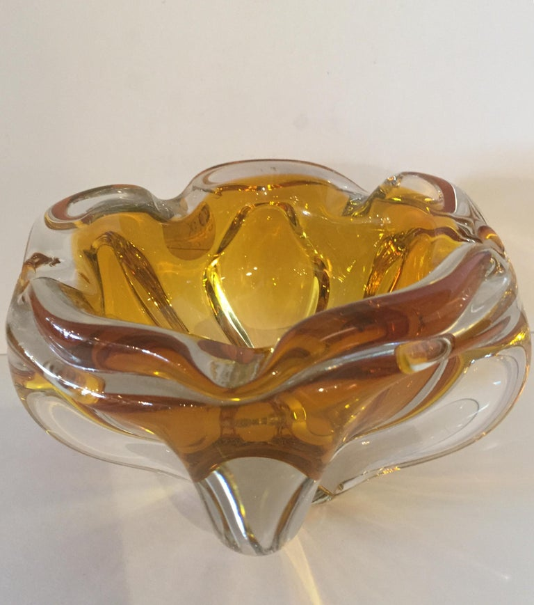 Hand-Crafted Extra Large Murano Citrine and Amber to Clear Ash Tray or Bowl For Sale