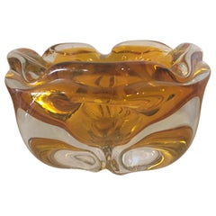 Extra Large Murano Citrine and Amber to Clear Ash Tray or Bowl