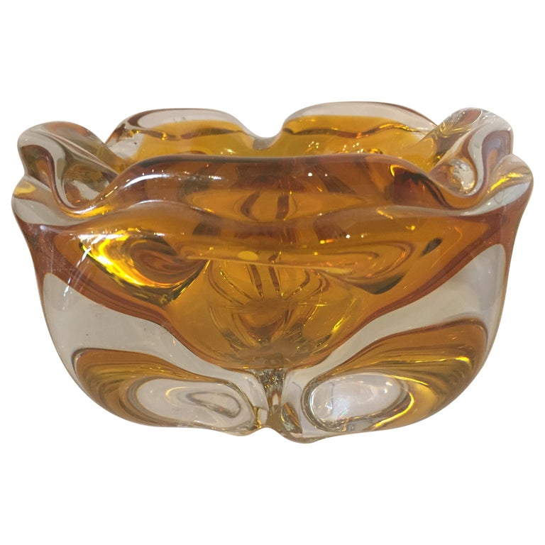 Extra Large Murano Citrine and Amber to Clear Ash Tray or Bowl For Sale