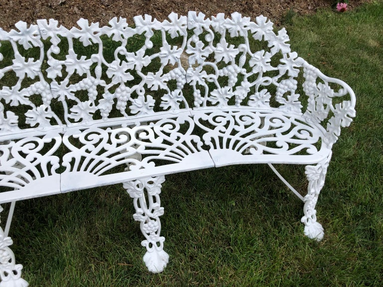Extra Large Neoclassical Floral Garden Bench For Sale 3