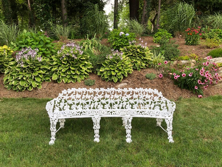 American Extra Large Neoclassical Floral Garden Bench For Sale