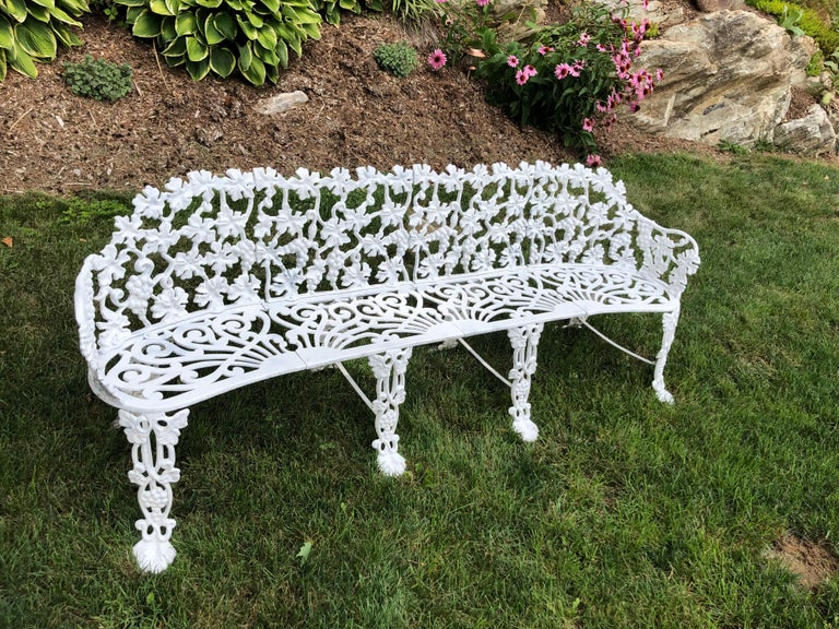 Cast Extra Large Neoclassical Floral Garden Bench For Sale