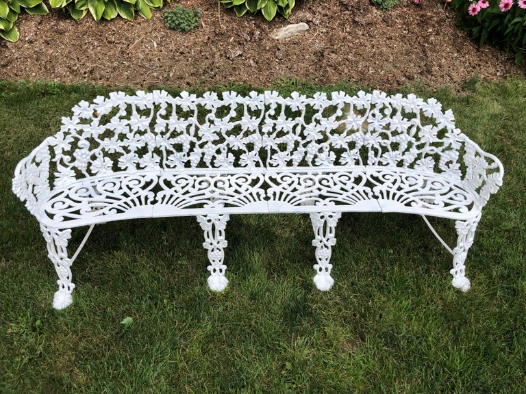Extra Large Neoclassical Floral Garden Bench In Good Condition For Sale In Redding, CT