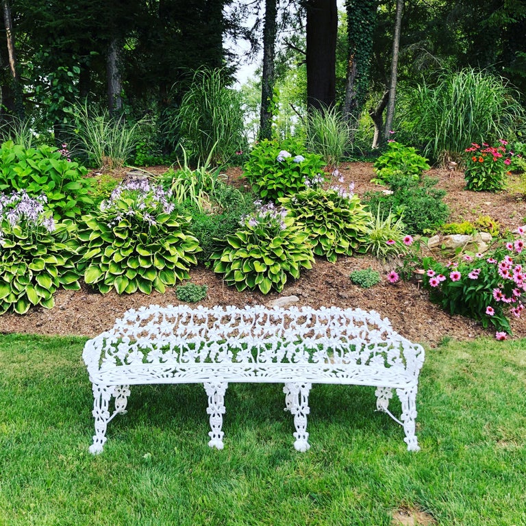Mid-20th Century Extra Large Neoclassical Floral Garden Bench For Sale