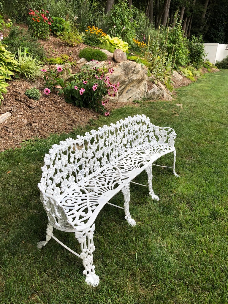 Aluminum Extra Large Neoclassical Floral Garden Bench For Sale