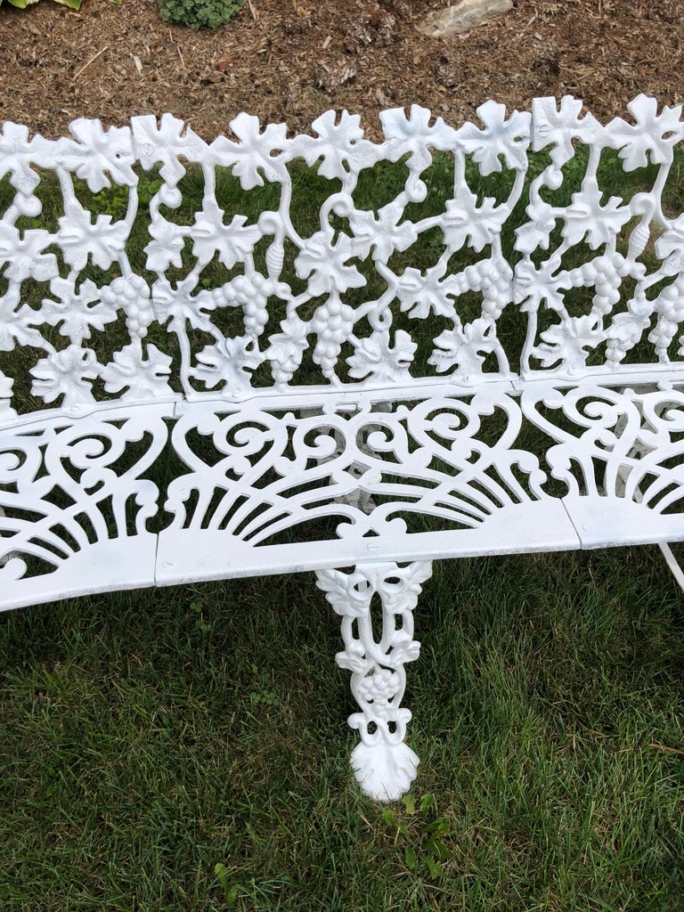 Extra Large Neoclassical Floral Garden Bench For Sale 1