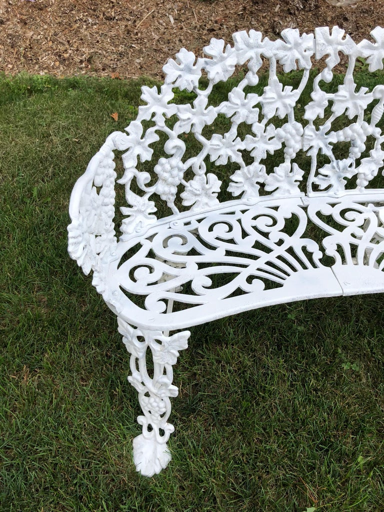 Extra Large Neoclassical Floral Garden Bench For Sale 2
