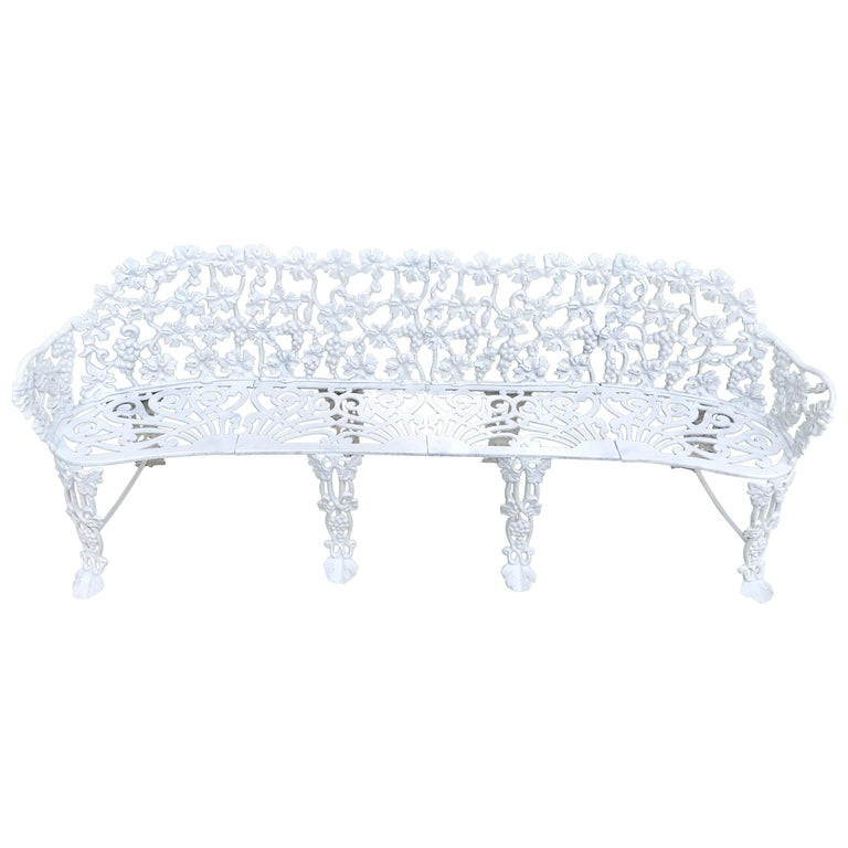 Extra Large Neoclassical Floral Garden Bench For Sale