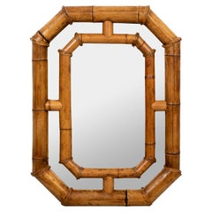 Extra Large Octagon Shaped Bamboo Mirror Palm Beach Regency Style
