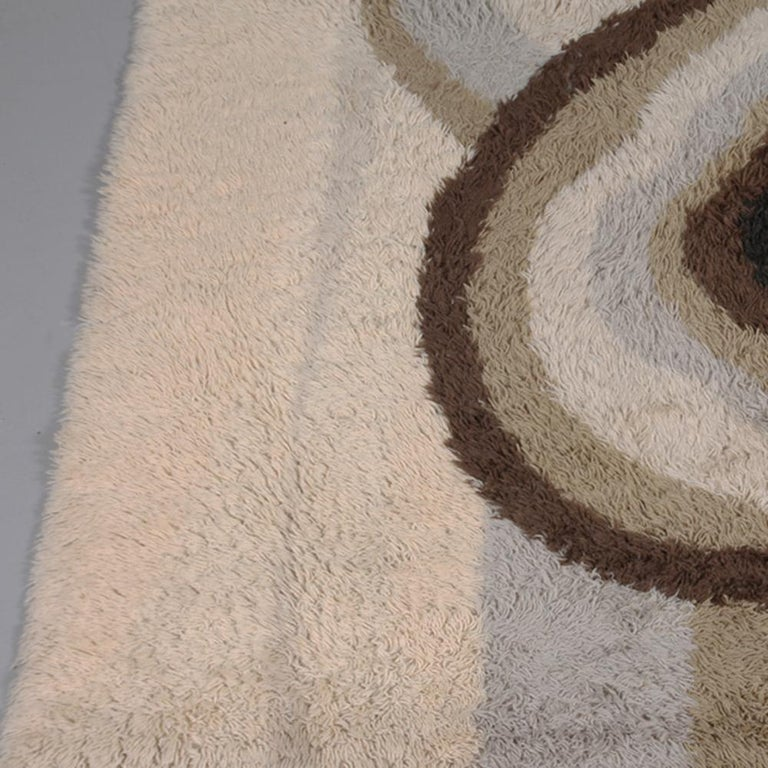 20th Century Extra Large Original Scandinavian High Pile Beige Rya Rug by Ege Taepper, 1960s For Sale