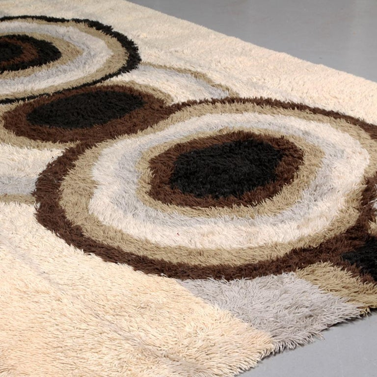 Cotton Extra Large Original Scandinavian High Pile Beige Rya Rug by Ege Taepper, 1960s For Sale