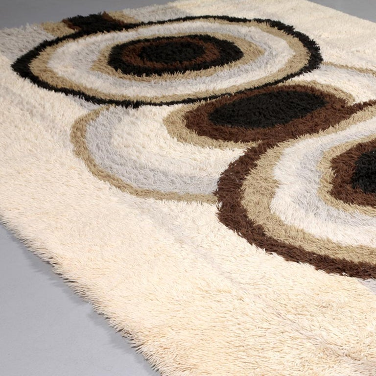 Extra Large Original Scandinavian High Pile Beige Rya Rug by Ege Taepper, 1960s For Sale 1