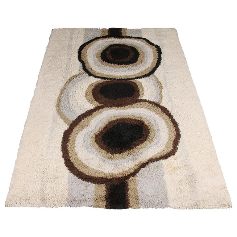 Extra Large Original Scandinavian High Pile Beige Rya Rug by Ege Taepper, 1960s For Sale