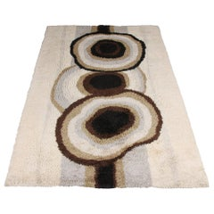 Extra Large Original Scandinavian High Pile Beige Rya Rug by Ege Taepper, 1960s