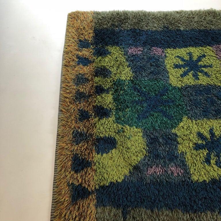 Wool Extra Large Original Scandinavian Rya Rug, Arne Lindaas for Sellgren AS, Norway For Sale