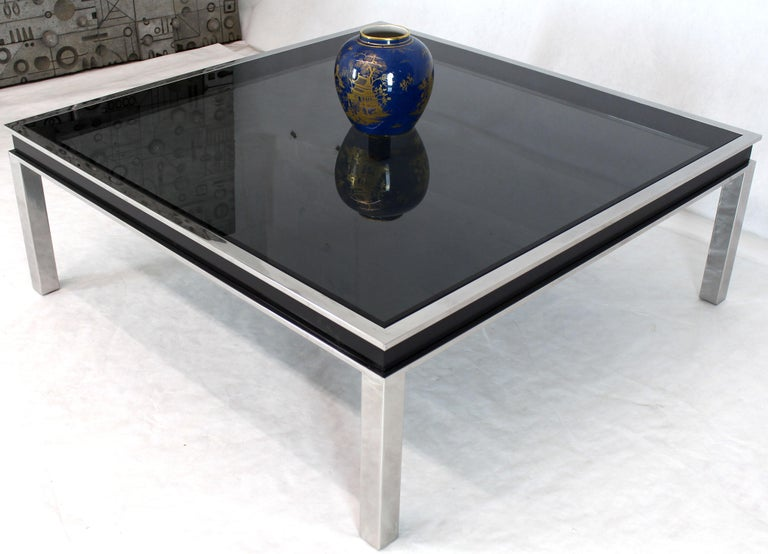 Astounding Extra Large Polished Chrome Square Mid Century Modern Coffee Table Smoked Glass Gmtry Best Dining Table And Chair Ideas Images Gmtryco