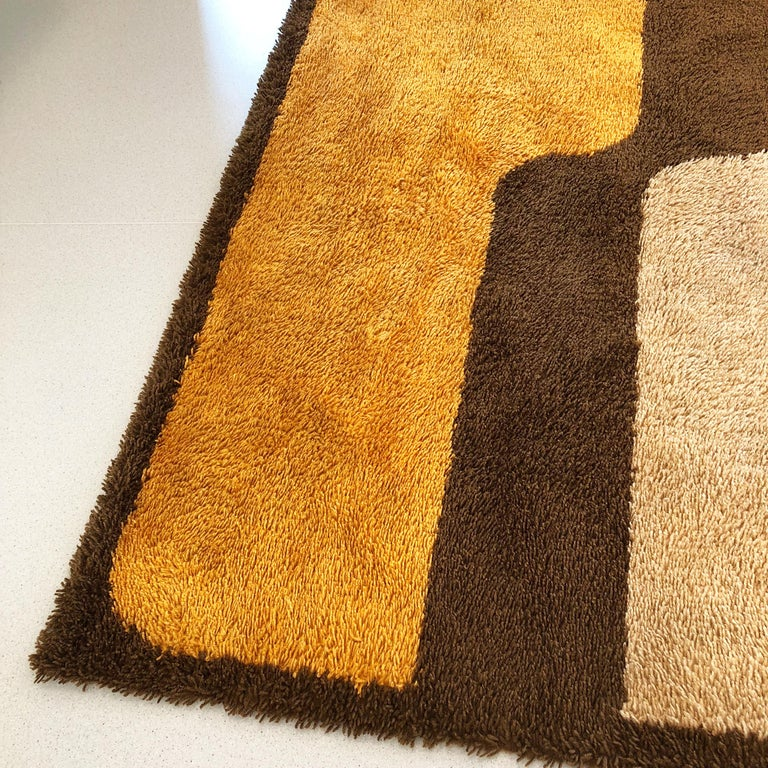 Extra Large Pop Art Multi-Color High Pile Wool Rug by Besmer, Germany, 1970s For Sale 3
