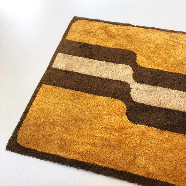 Extra Large Pop Art Multi-Color High Pile Wool Rug by Besmer, Germany, 1970s For Sale 4