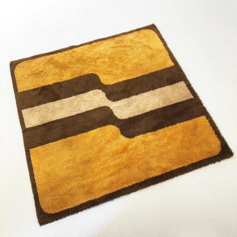 Mid-Century Modern Extra Large Pop Art Multi-Color High Pile Wool Rug by Besmer, Germany, 1970s For Sale