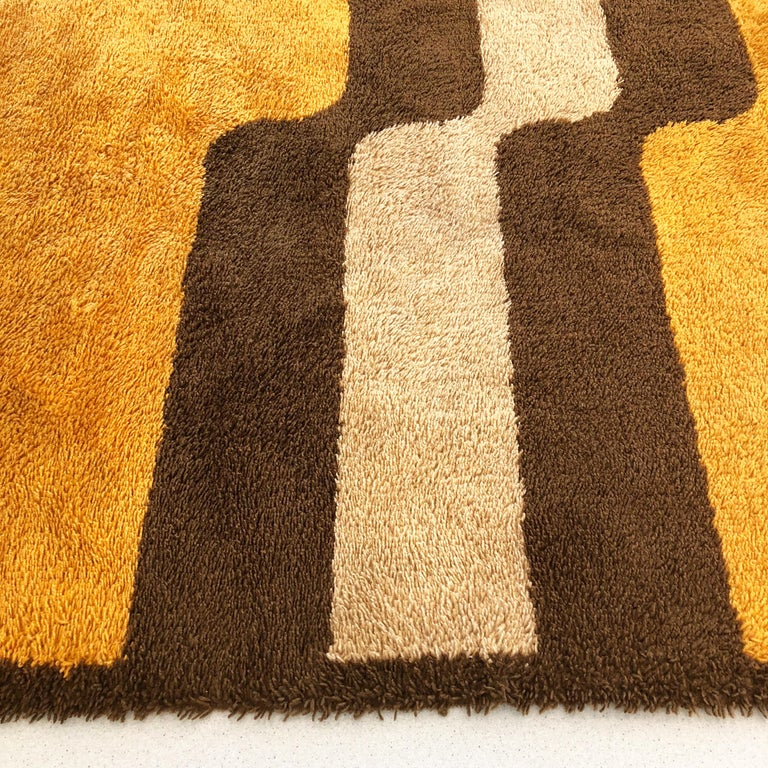 Acrylic Extra Large Pop Art Multi-Color High Pile Wool Rug by Besmer, Germany, 1970s For Sale